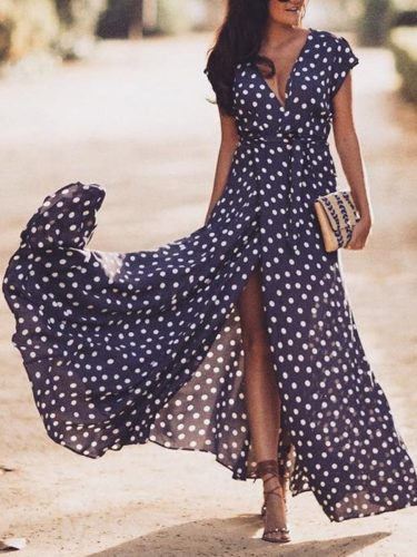 leisure polka dots long sleeve maxi dress