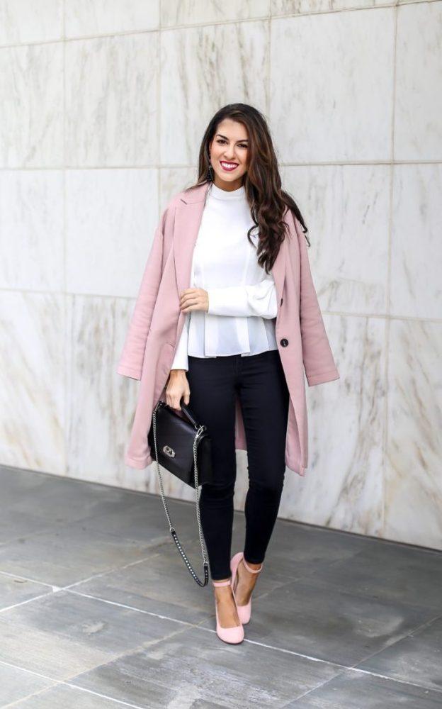 women dress pink sandals match a pink coat