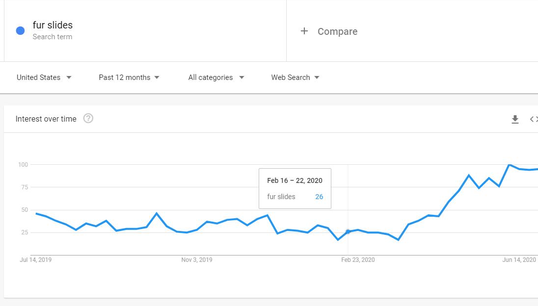 google trends data of fur slides