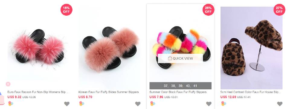 wholesale7 - real raccoon/fox fur slides