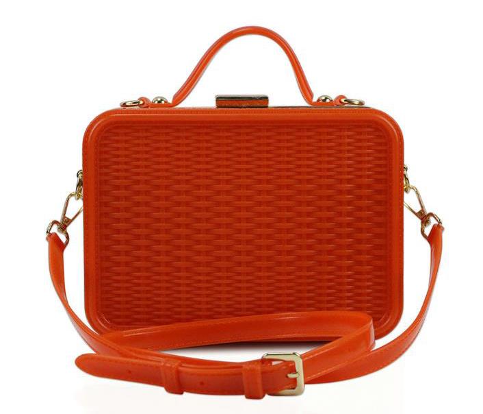 Solid Woven Pattern PVC Square Handbags