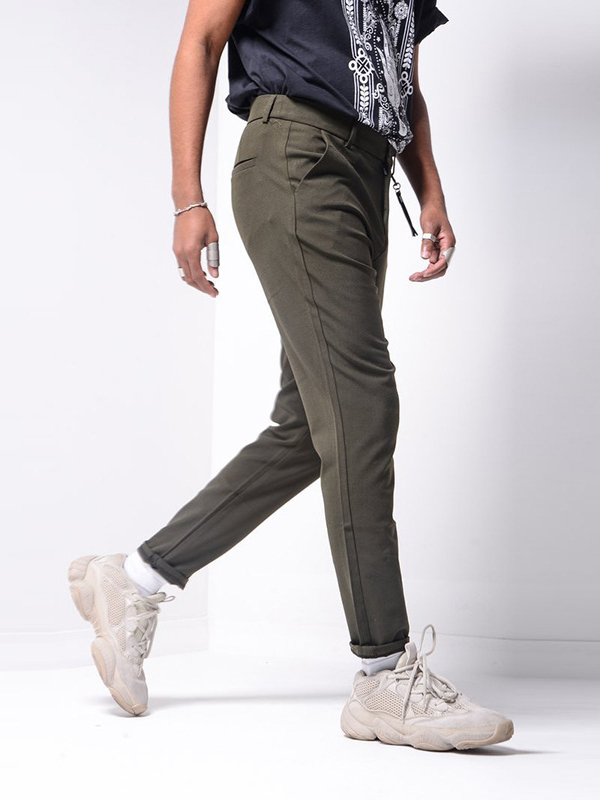 Solid Color Mid Waist Work Pants For Men
