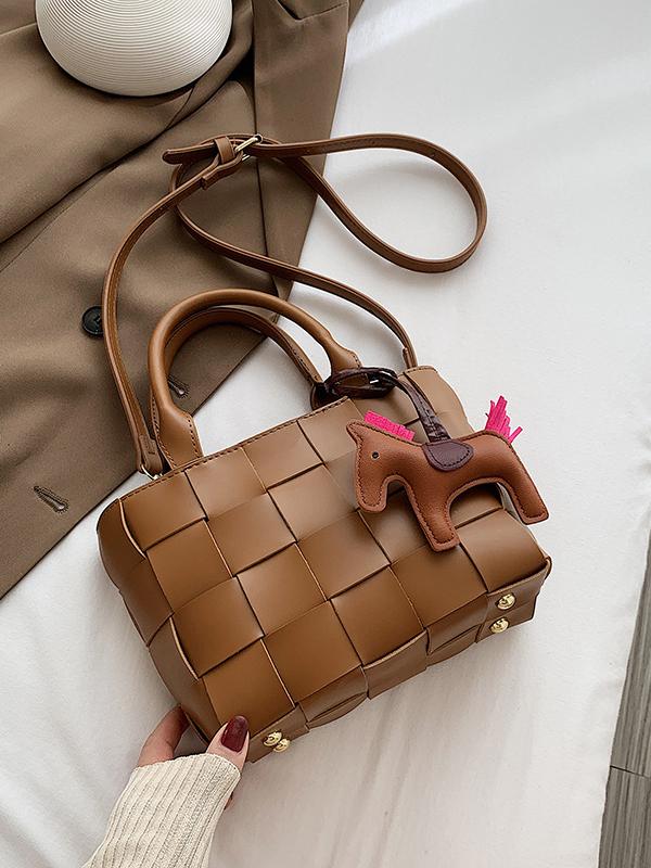 Brown woven handbag