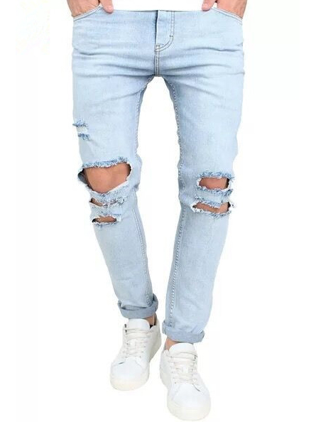 Casual Holes Solid Men Ripped Jeans