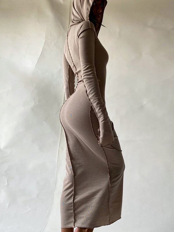 Casual Hooded Collar Casual Maxi Dresses