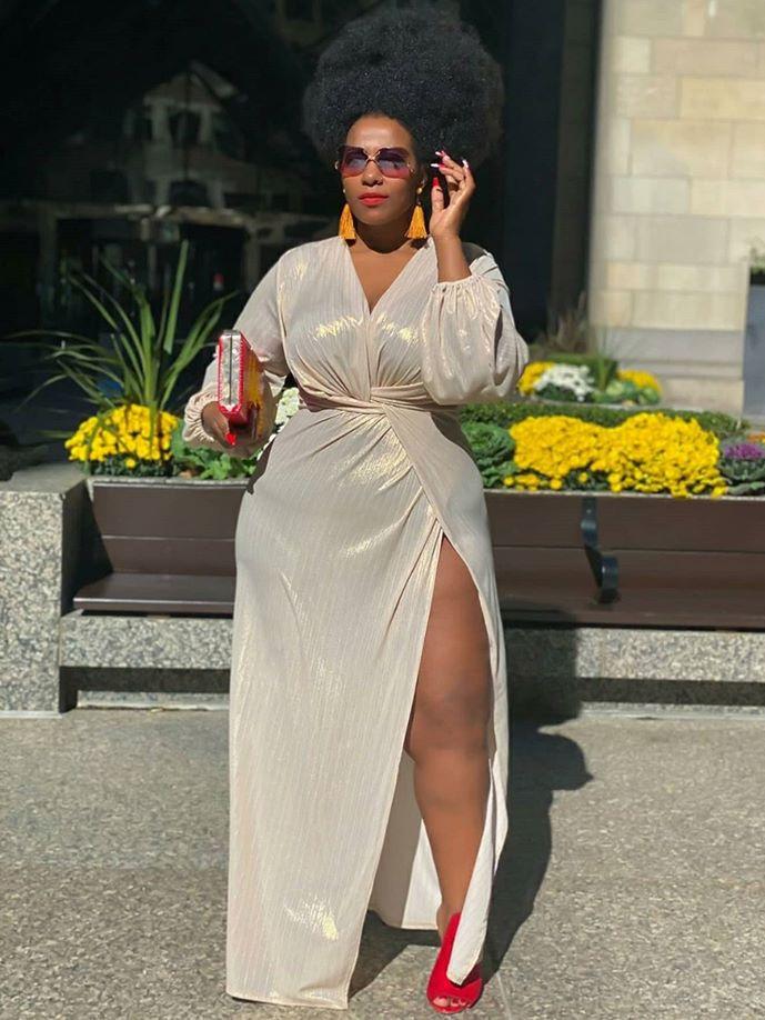 Deep v Side Slit Long Sleeve Maxi Dresses