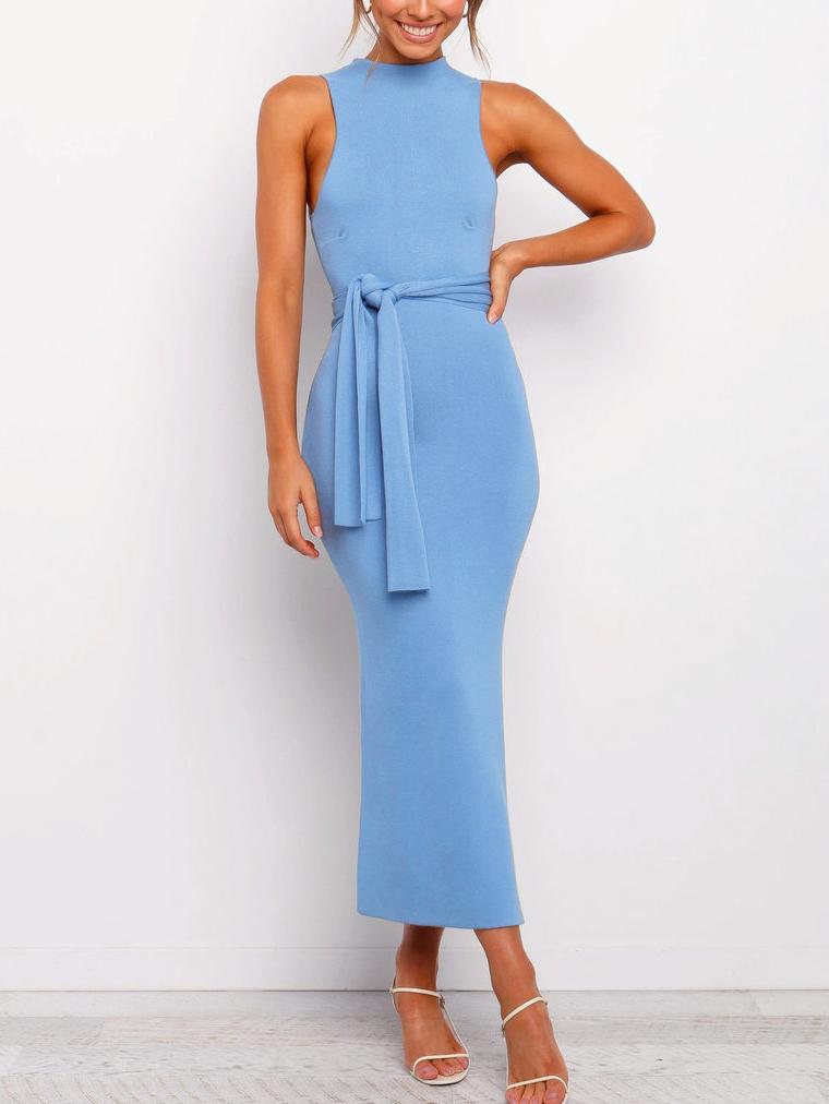 Fashion Tie-Wrap Solid Sleeveless Maxi Dress