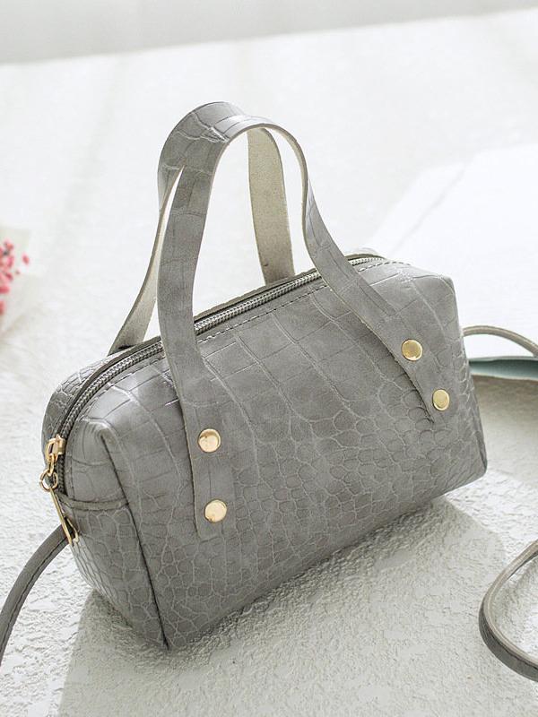Grey crocodile pattern handbag