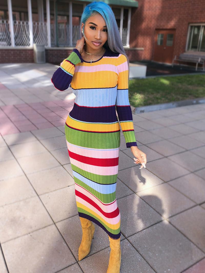Stylish Color Block Striped Long Sleeve Maxi Dress