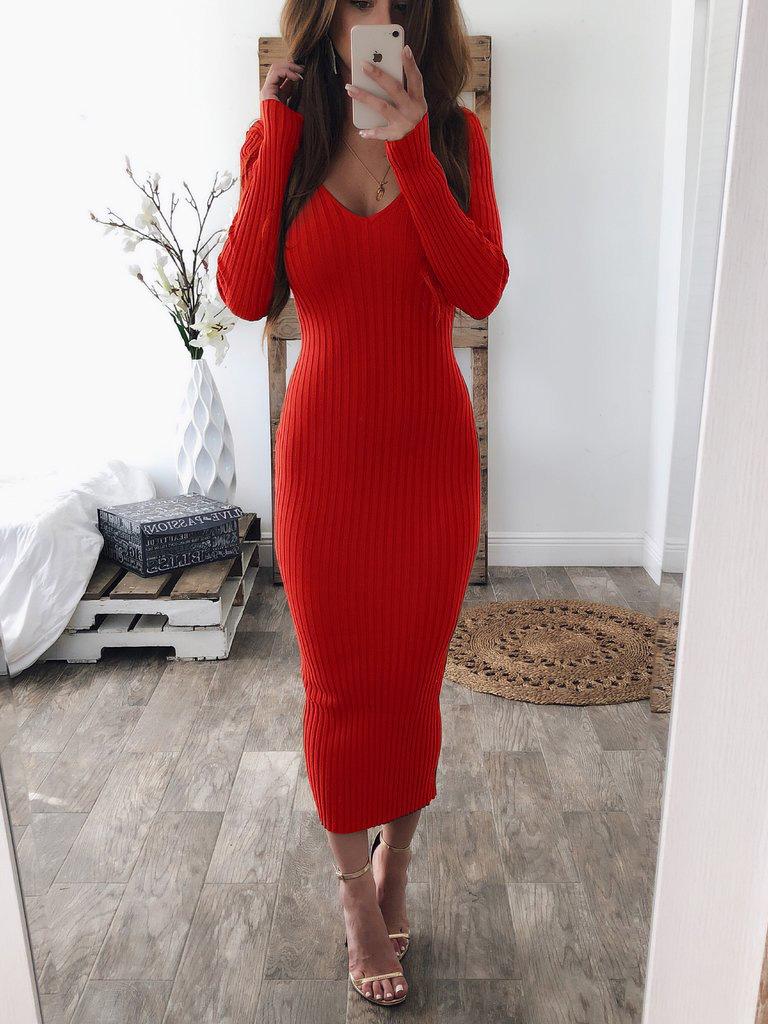 V Neck Comfortable Solid Long Sleeve Maxi Dress