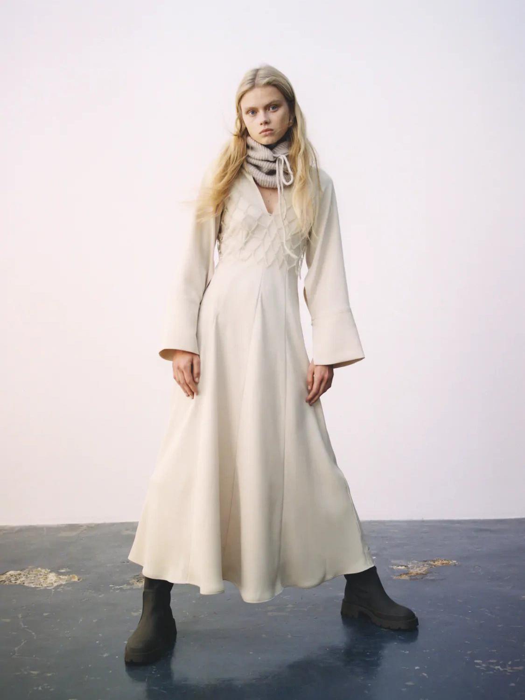 V Neck Pure Color Long Sleeve Maxi Dresses