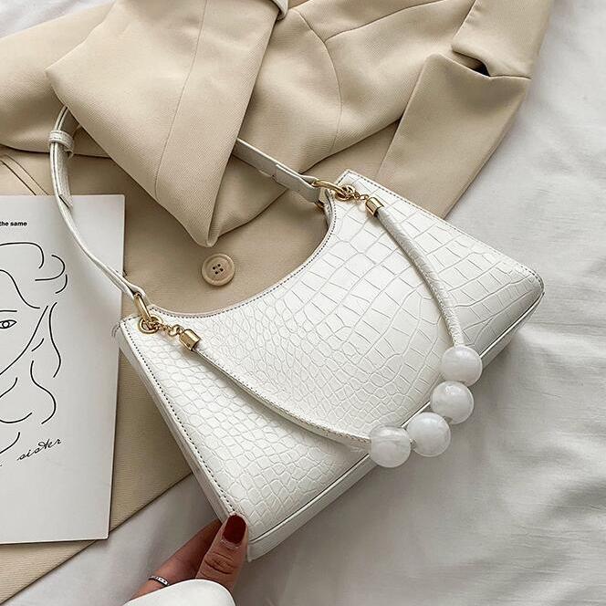 White crocodile pattern handbag