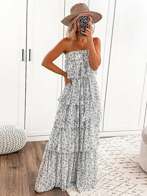 Boat Neck Sexy Strapless Floral Printed Maxi Dress