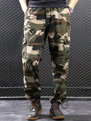 Casual Elastic Waist Cargo Pants For Men
