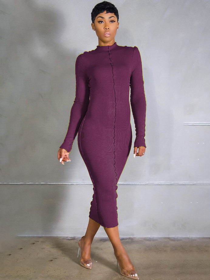 Casual Pure Color Long Sleeve Maxi Dress