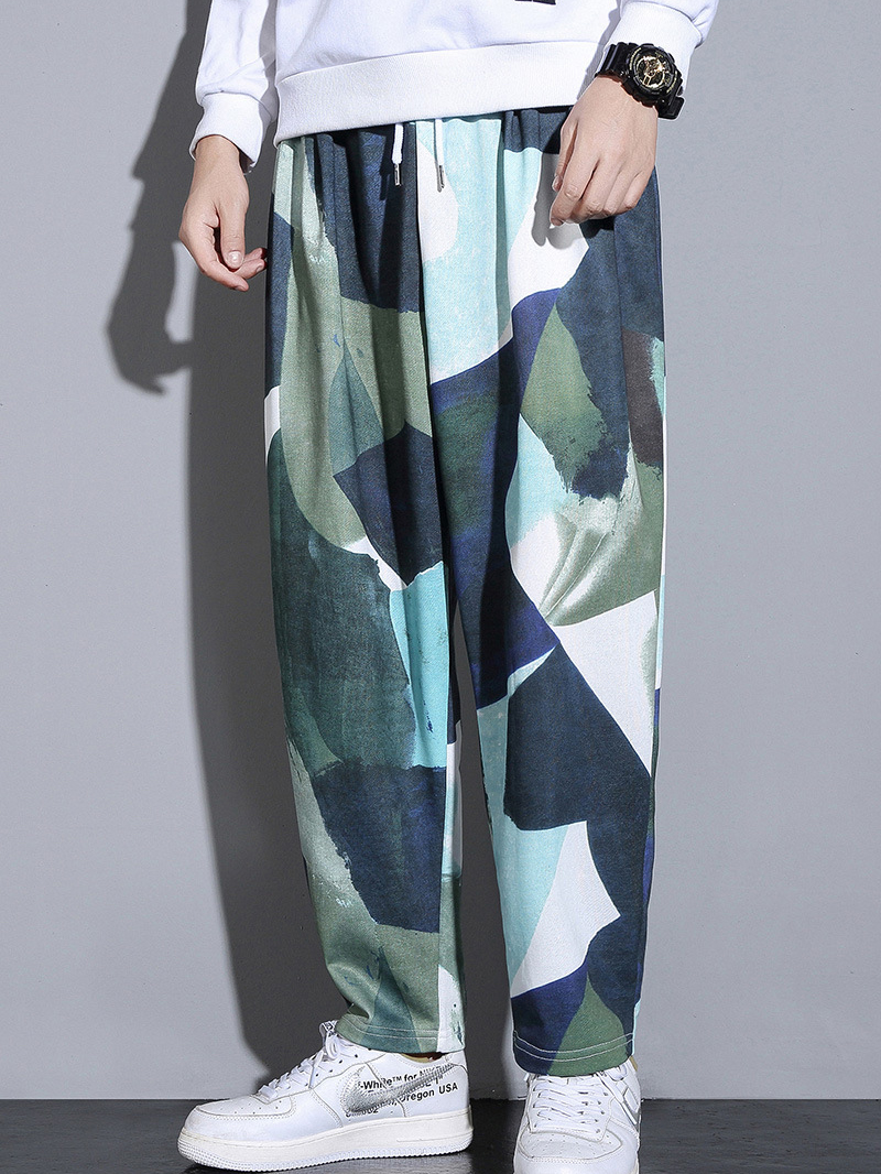 Colorful Print Harem Style Loose Pants For Men