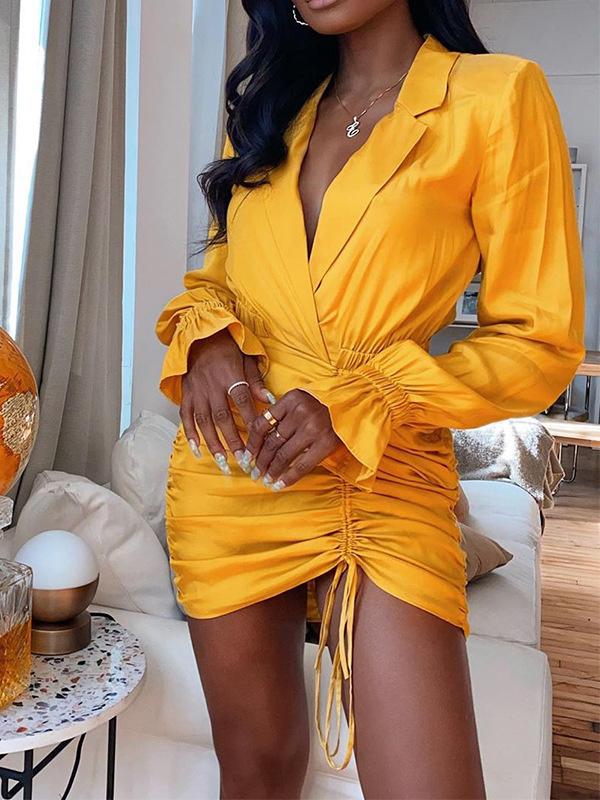 Drawstring Long Sleeve Women Mini Dress