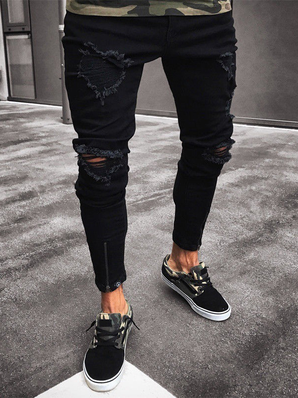 Elastic Washed High Waisted Black Ripped Jeans