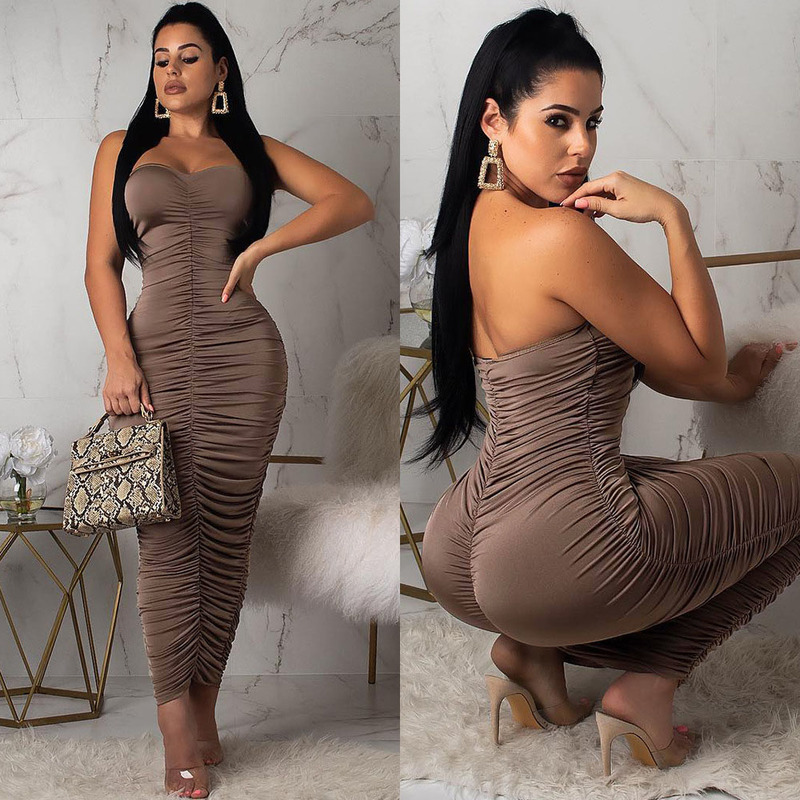 Euro Ruched Off Shoulder Asymmetrical Strapless Maxi Dresses
