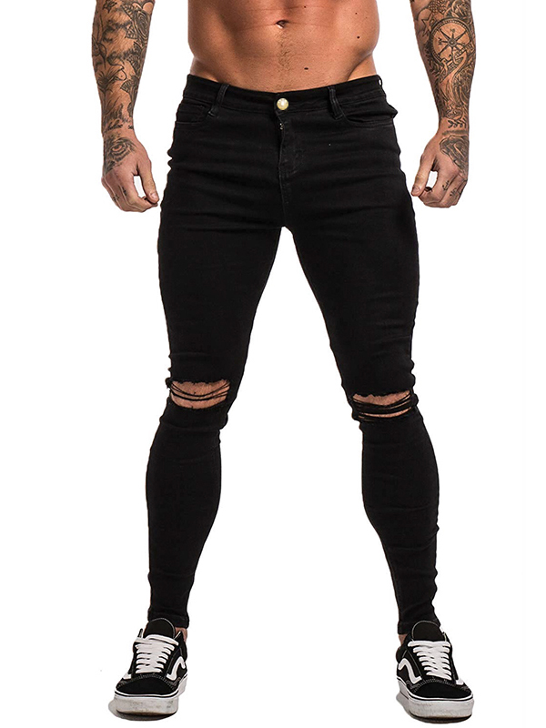 Fashion Mid Waist Mens Ripped Jeans In Black