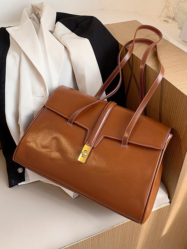 Large Capacity Twist Lock Ladies One Shoulder Bags