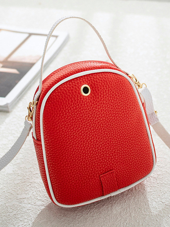 Litchi Stria Pattern Contrast Color Mini Backpack