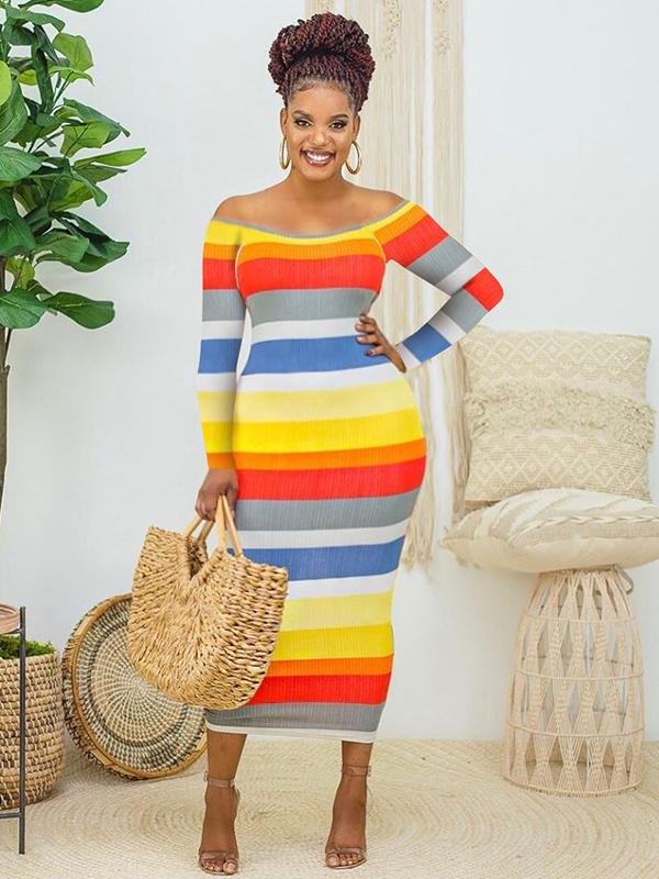 Off Shoulder Contrast Color Casual Maxi Dresses