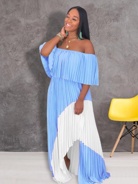 Off Shoulder Contrast Color Pleated Maxi Dresses