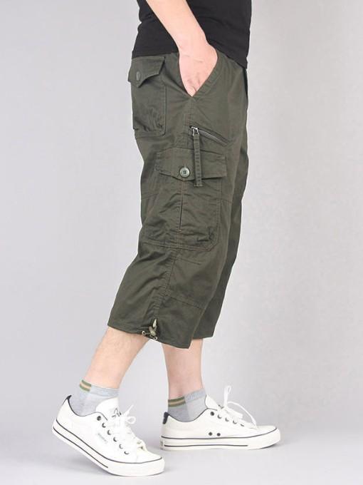 Plus Size Pockets Cropped Lounge Pants For Men