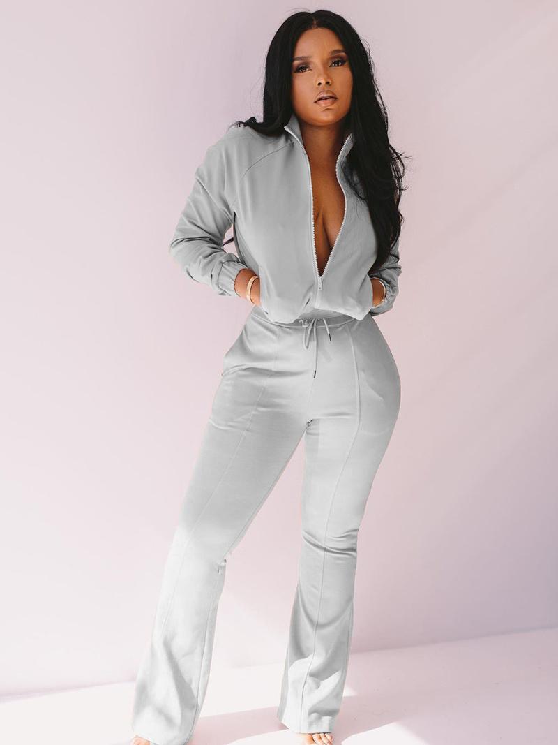 Pure Color Zip Up Casual 2 Piece Pants Set