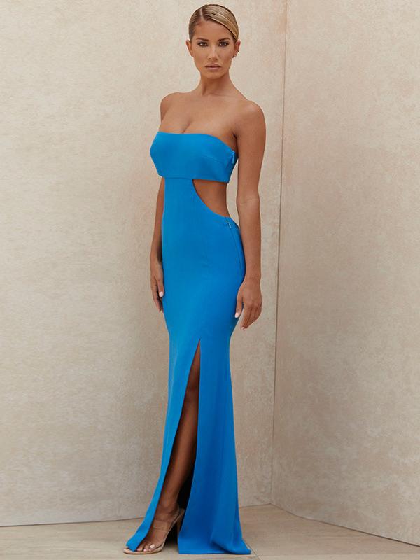 Sexy Cutout Slit Strapless Maxi Dress