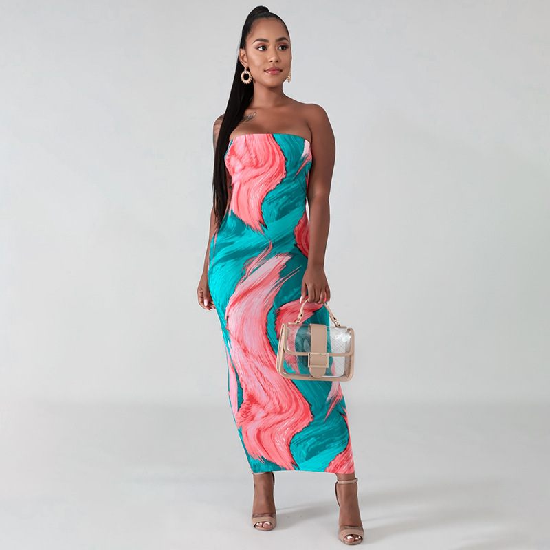 Sexy Print Strapless Maxi Dress For Summer