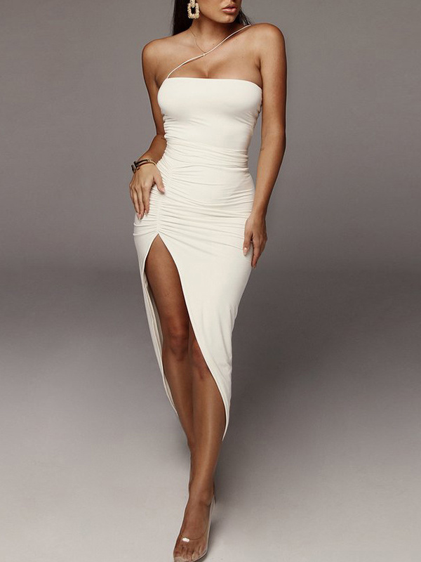 Sexy Ruched High-Split Maxi Dresses For Women