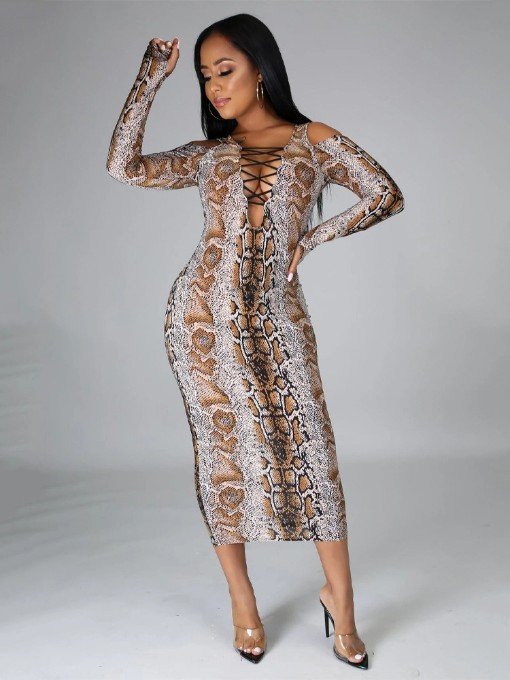 Sexy Snake Print Cold Sleeve Maxi Dress