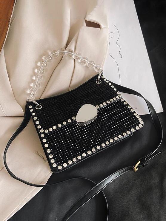 Shiny Rhinestone Clear Beads Handle Shoulder Bags