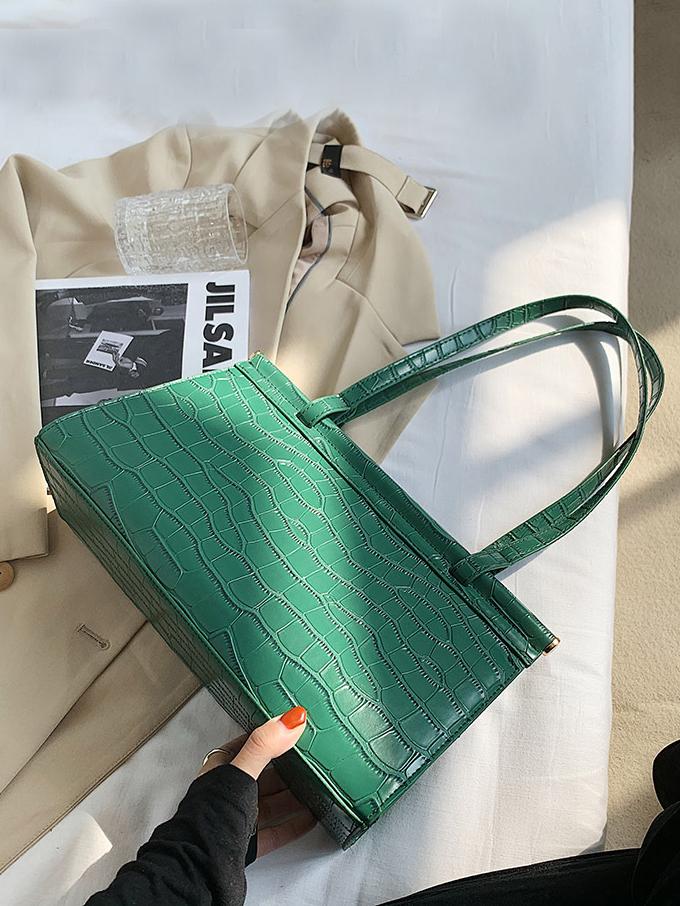 Simple Design Stone Pattern Solid Color Shoulder Bags