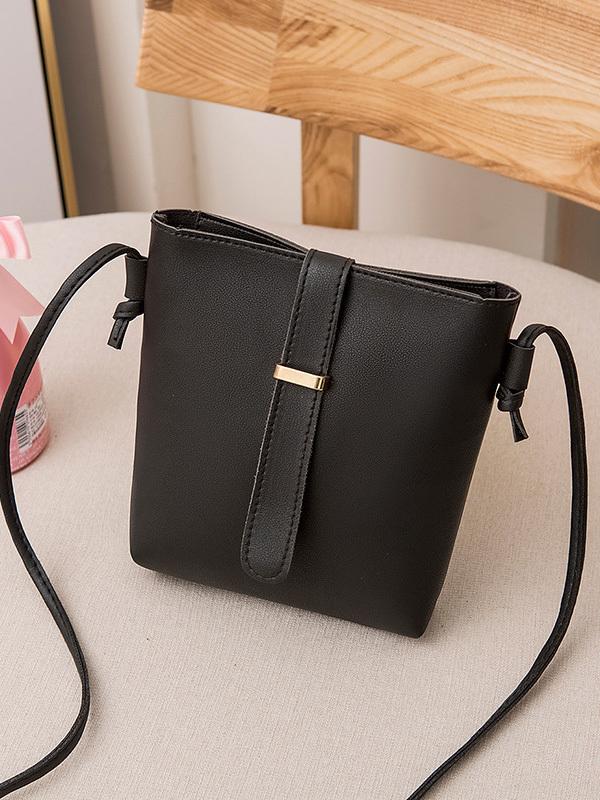 Simple Style Candy Color Zipper Shoulder Bags