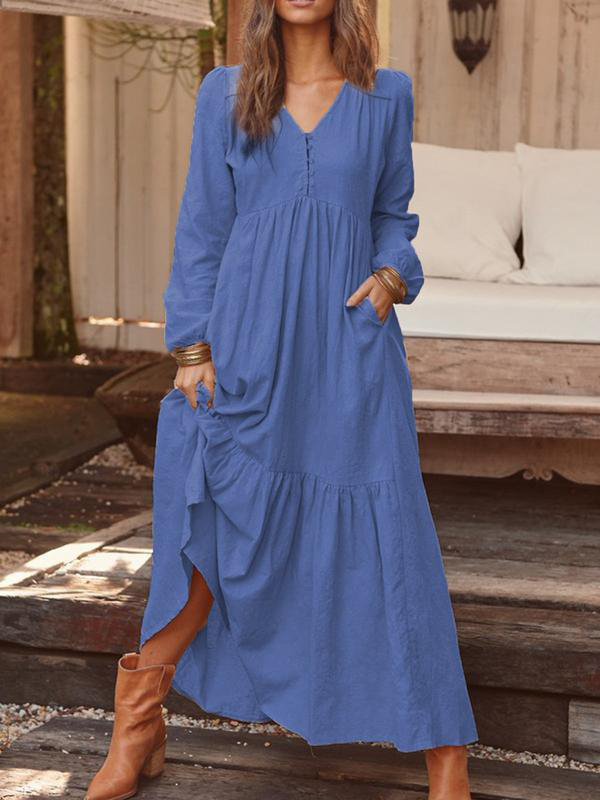Solid Long Sleeve Casual Maxi Dresses