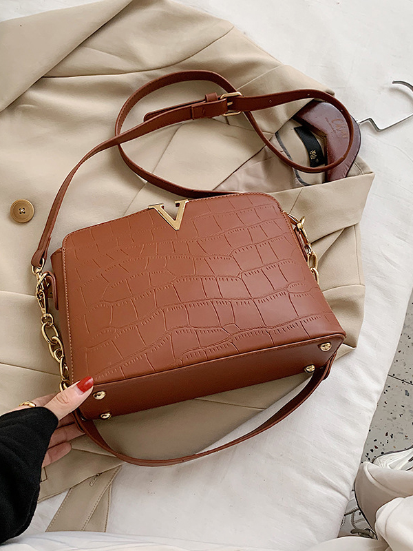 Solid Stone Grain Chain Patchwork Shoulder Bags