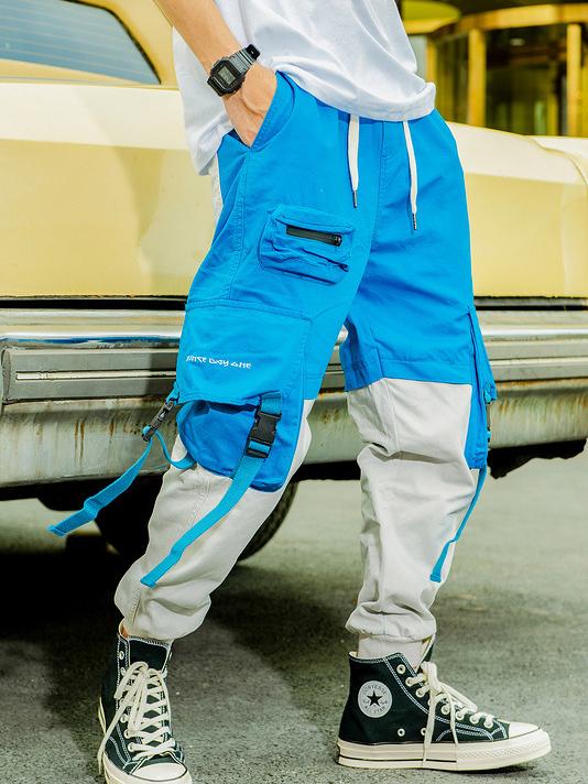Street Wear Color Block Lounge Pants For Men