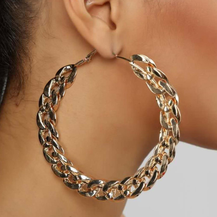 Thick Chain Exaggerated Design Big Hoop Earrings