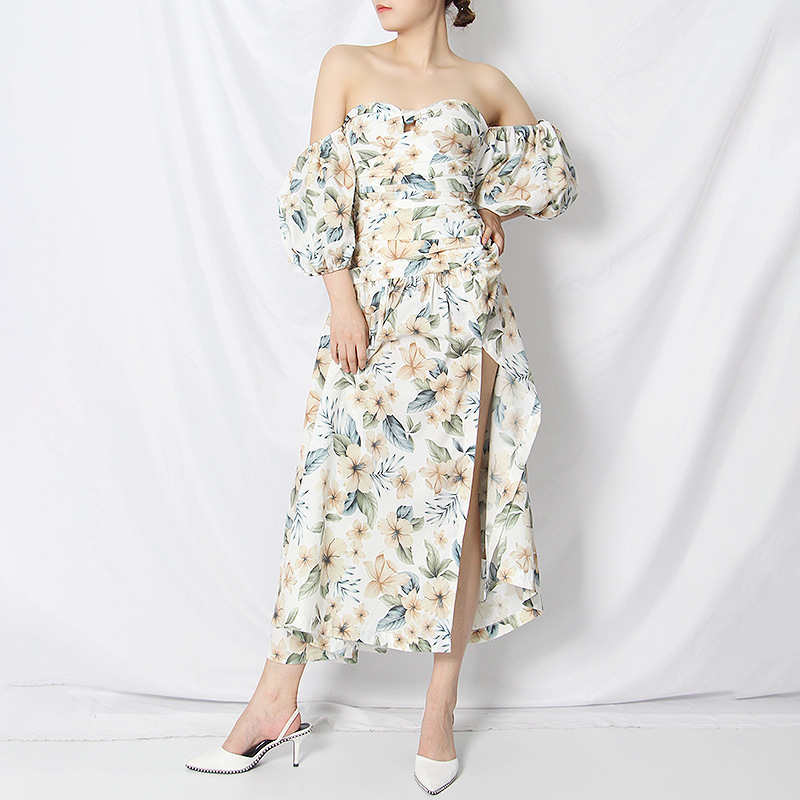 Boutique Printed Puff Sleeve Off The Shoulder Maxi Dress