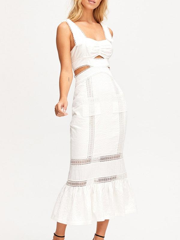 Boutique Square Neck Hollow Out Maxi Dress