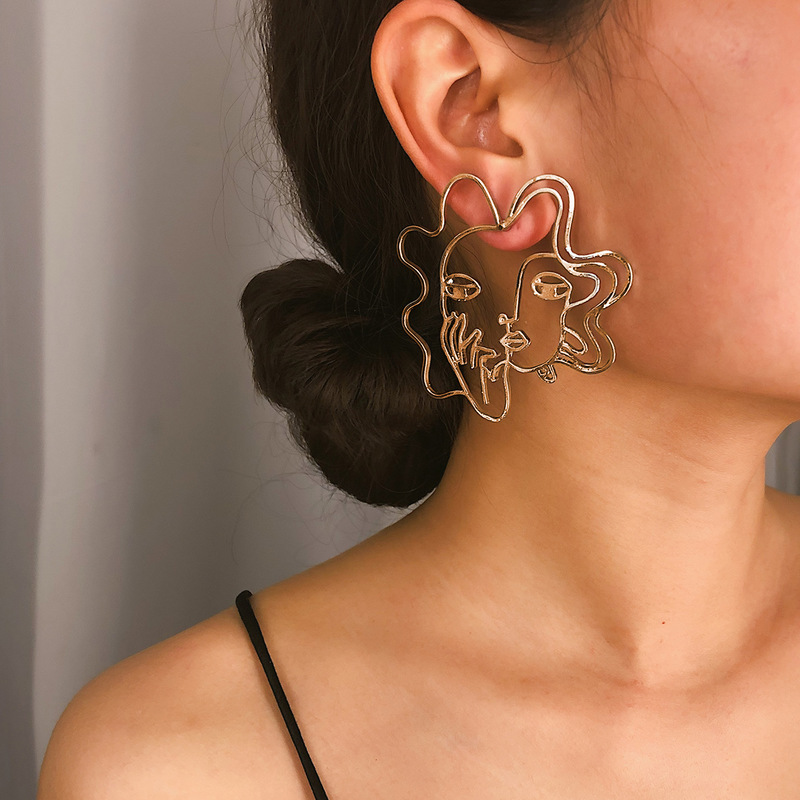 Creative Face Shape Hollow Out Earrings Online