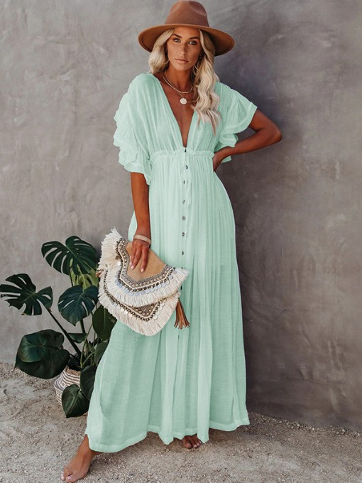 Elastic Waist V Neck Solid Short Sleeve Maxi Dress