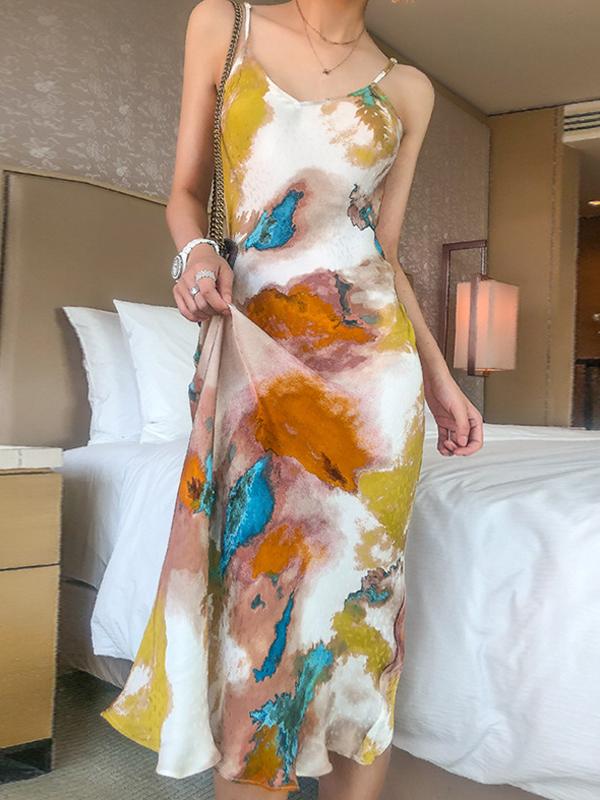 Multicolored Tie Dye Lightweight Slip Dress