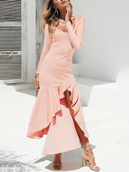 Sexy Ruffle Vent Solid Maxi Dress