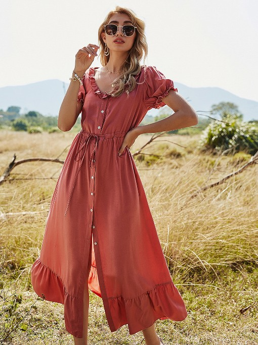 Single-Breasted Ruffled Hem Short Sleeve Maxi Dresses