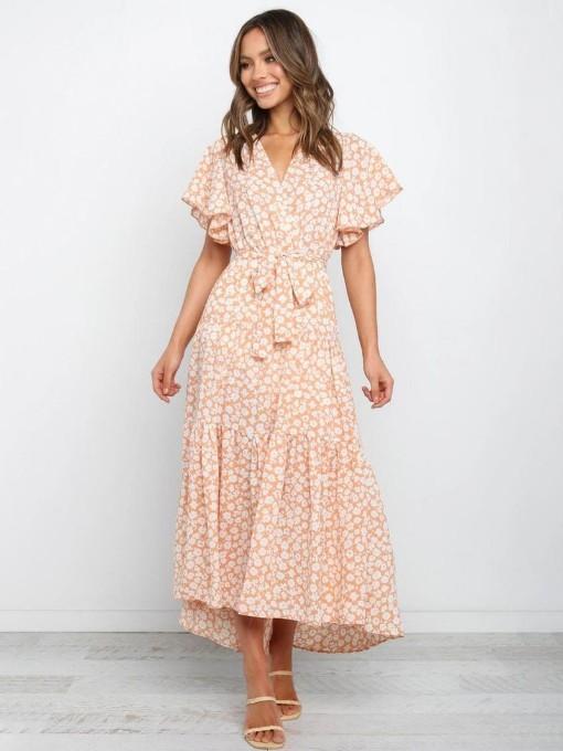 Stylish Flower Printed Tie-Wrap Summer Maxi Dresses