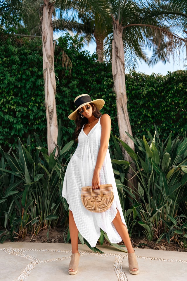 Woven straw bags and dresses